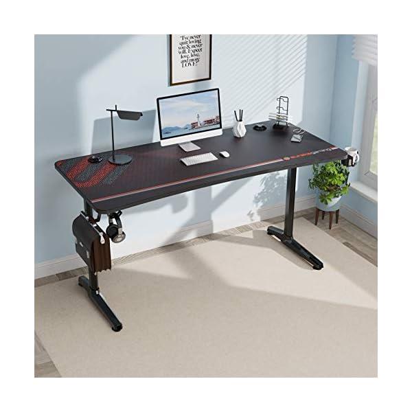 EUREKA ERGONOMIC Bureau Gaming P60 Bureau Gamer Bureau pour Gaming PC Informatique Table Desk Tapis Souris Porte Gobelet…