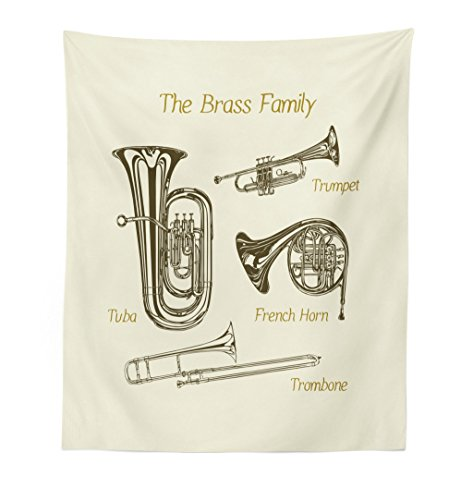 Lunarable Music Tapestry, Brass Family Instruments Drawing of Tuba Trumpet Trombone and French Horn, Fabric Wall Hanging Decor for Bedroom Living Room Dorm, 23