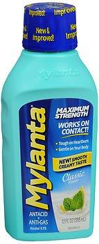 Mylanta Antacid + Anti-Gas Liquid Maximum Strength Classic Flavor - 12 oz, Pack of 2