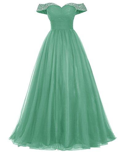 Bridesmay Longue Robe De Bal En Tulle Perles De Robe De Soirée Épaule Vert Robe Formelle
