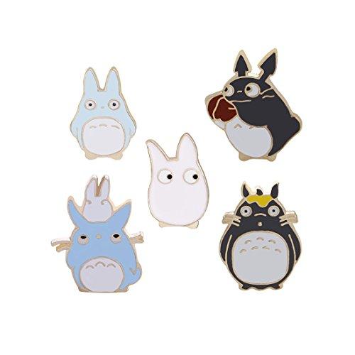 Winzik Novelty Cartoon Lapel Brooch Pins Set 5pcs Cute Chinchillas Pattern Enamel-liked Badges for Women Girls Child Clothes Backpacks Decor ()