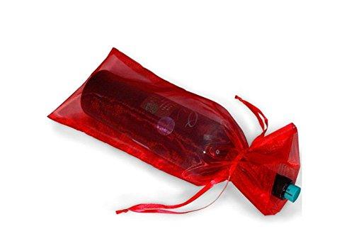 10pcs Wine Bottle & Wine Organza Favor Gift Bags Red 14 x 37CM