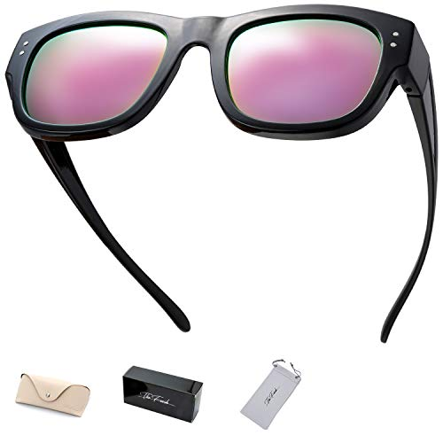 The Fresh High Definition Polarized Wrap Around Shield Sunglasses for Prescription Glasses - Gift Box Package (609-Black, Pink Mirror)