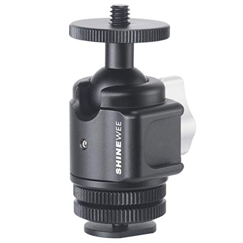 """Ball Head with Cold Shoe Mount, 360 Degree Panning Base, 135 Degree Tilt, 1/4"""" Screw and Cold Shoe Mount, Come with on Camera Hot Shoe Adapter, Idea for Vlog Video Photograhpy"""