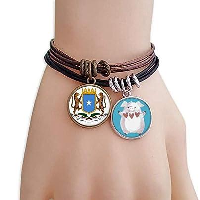 master DIY Somalia Africa National Emblem Bracelet Rope Wristband Pig Heart Love Set Estimated Price -