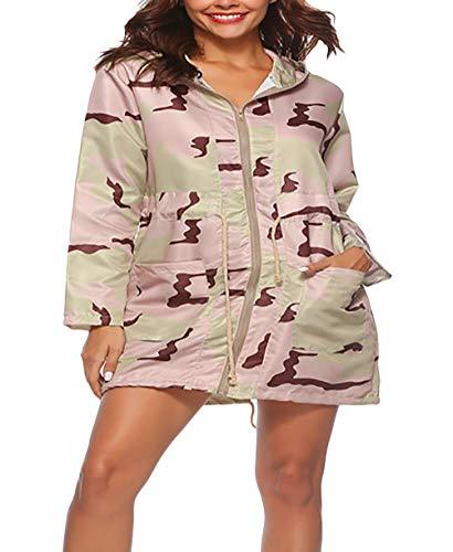 Chaquetas Casual Camuflaje Manga Pink Encapuchado Moda Correas Larga Otoño Primavera Mujer Cruzadas Fit Vintage Mujeres Casuales Con Slim Outdoor Outwear Tz8qwX