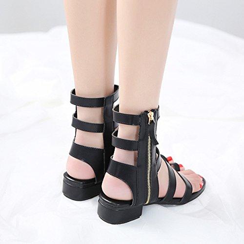 Exposées à Le Le 39 Printemps Talons de Plat de Hauts sous l'aide Fond et Chaussures l'été Black Zip Vent ZHZNVX Haut Nouveau Sandales Femmes Z1wAA