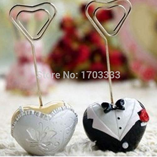 Bride And Groom - 100pcs 50pairs Style Bride And Groom Heart Shaped Place Card Holder Wedding Favor Dhl Fedex Free - Honeymoon Flip Coasters Suit Eye Luggage Do Camo Party Glass]()