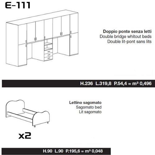 Istruzioni Montaggio Cameretta Ponte.Sconosciuto Camera Armadio Doppio Ponte Con 2 Letti Eco111