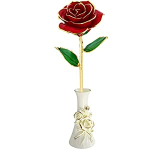 NORACLAN Gold Foil Rose Red Rose Valentine Day Flower Gifts for Her, Plated Not Withering Eternal 24k Gold Roses Romantic Artificial Flowers Gifts