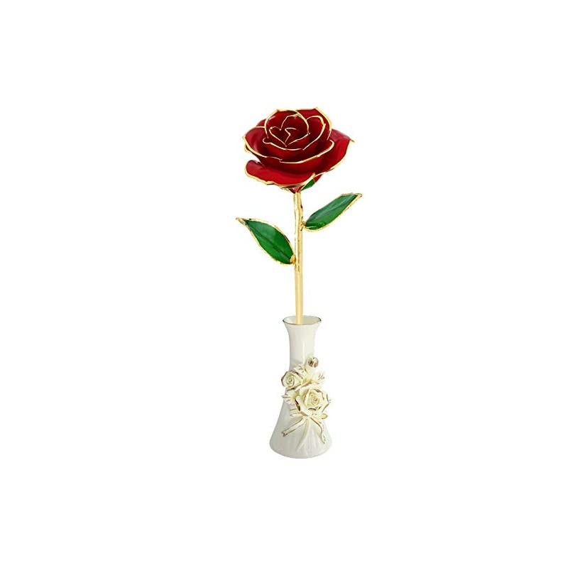 silk flower arrangements noraclan gold foil rose red rose valentine day flower gifts for her, plated not withering eternal 24k gold roses romantic artificial flowers gifts