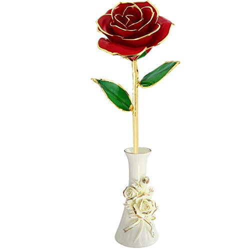 Gold Foil Rose Red Rose Valentine Day Flower Gifts for Her, Plated Not Withering Eternal 24k Gold Roses Romantic Artificial Flowers Gifts (24k Gold Trimmed Vase)