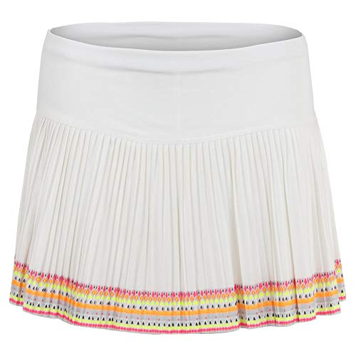 - Lucky In Love Women`s Pleated Tennis Skirt White and Neon Border (X-Large White and Neon Border)