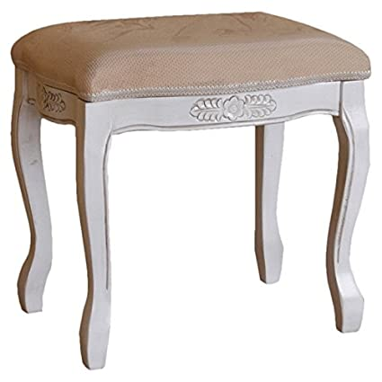 Remarkable Amazon Com Hand Carved Antique White Vanity Stool This Alphanode Cool Chair Designs And Ideas Alphanodeonline