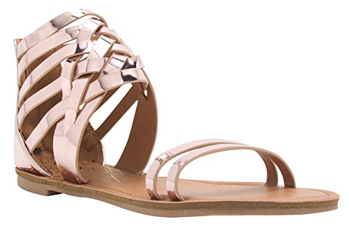 Cambridge Select Womens Open Teen Crisscross Lattice Ankle Strappy Flat Sandal Rose Pink