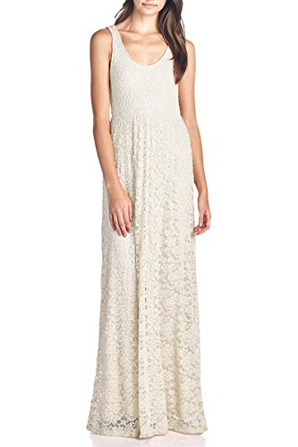 Beachcoco Women's Long Length Sleeveless Lace Dress (XL, Ivory) (Ivory Lace Empire Waist Dress)