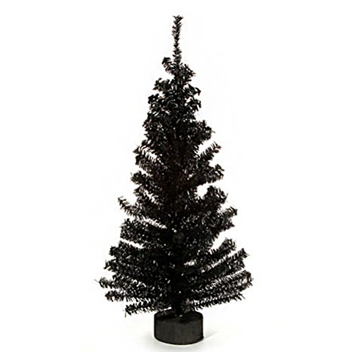 Canadian Pine Tree with Wood Look Base - 148 Tips - Black - 24 inches (1 pack)