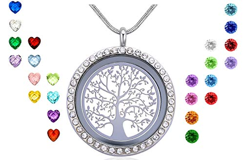 Family Tree Pin - Xingzou Family Tree of Life Floating Locket Necklace, DIY Stainless Steel Pendant with 24Pcs Birthstones for Mummy Mom Mother in Low Grandma Nana Aunt Niece, Best Gift