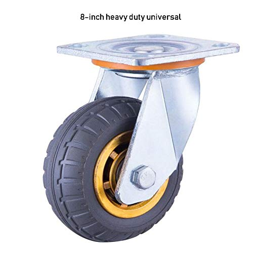 Color : Brake, Size : 8 inches MUMA Heavy Duty Stainless Steel Universal Silent Casters 4//5//6//8 Inch Industrial Wheel Flat Wheel Trolley Mechanical Wheel