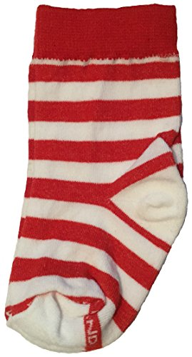 Red & White Stripe Crew Socks - Infant Baby Bootie - Raggedy Ann Rag Doll Elf Candy Cane Striped (Toddler Raggedy Ann Costume)