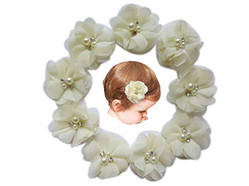 Baby Girls Chiffon Flower Hair Clips with Rhinestones and Pearl,YYCRAFT 10 pcs Party Wedding 2