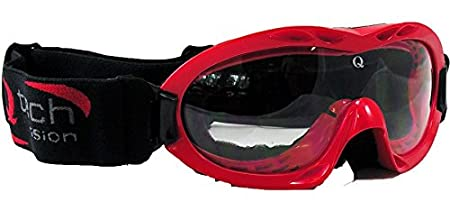 Qtech Adjustable Kids GOGGLES Motocross ATV Racing Mx Dirt Bike Half or Open Helmet Goggle - Black