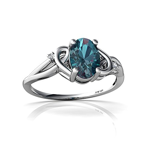 14kt White Gold Lab Alexandrite and Diamond 7x5mm Oval Swirls Ring - Size 6 - White Gold Oval Swirl