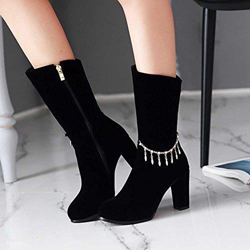 CHFSO Womens Fashion Solid Charms Round Toe Zipper High Chunky Heel Platform Wedding Boots Black pBovU