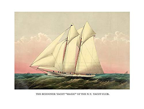 Vintage Sailboat Art Reproduction - Schooner Yacht