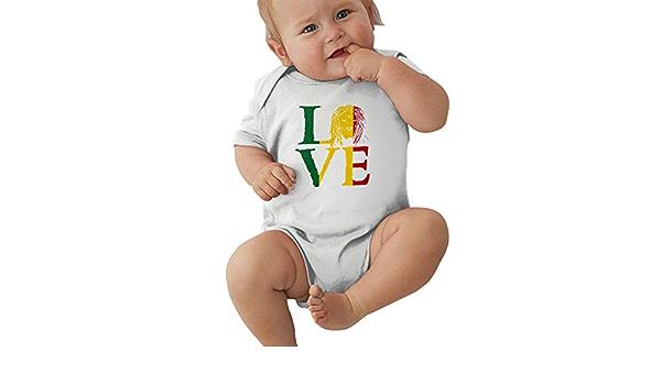 HUDS VIFV Rasta Lion Jamaican Reggae Love Baby Unisex Short Sleeve Onesies Bodysuits