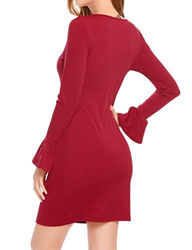 ... Damen Wickelkleid Langarm Rundhals Herbstkleid mit Trompete Ärmel  Moderner Schnitt Abendkleid Partykleid in 3 Farbe Weinrot ... 05615fd6b6