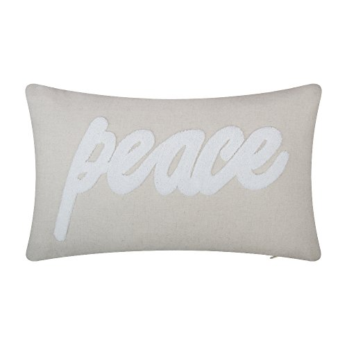 JW Terry Emboidery Accent Pillow Cases Peace Letters Cushion Covers Cotton Linen Pillowslips Decorative Pillowcases for Home Sofa Car Bed Room Office Chair Decor Pillow Shams12 x 20 Inch