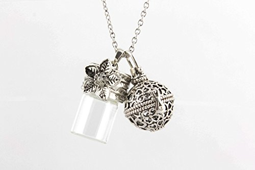 """Essential Oil Diffuser Necklace Jewelry with 4 Color Lava Stones and Locket Oil Bottle - 24"""" Adjustable Chain (Beaded Necklace Clearance Accessories Jewelry)"""