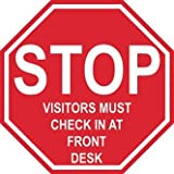 Graphical Warehouse Stop Visitors Must Check In At Front Desk Floor Sign-12''