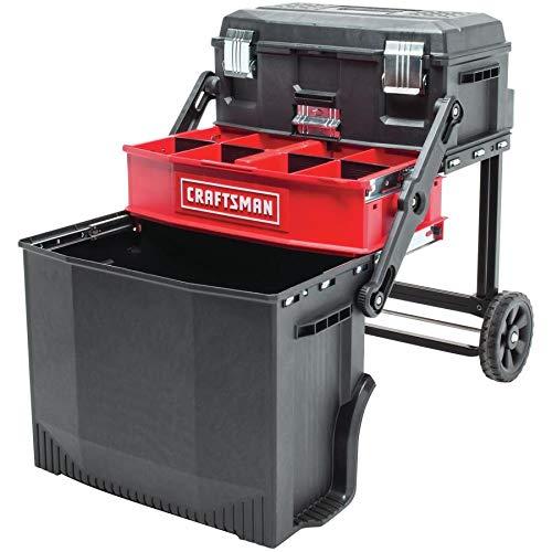 awer Red Rolling Workshop Plastic; Metal Wheeled Lockable Tool Box ()