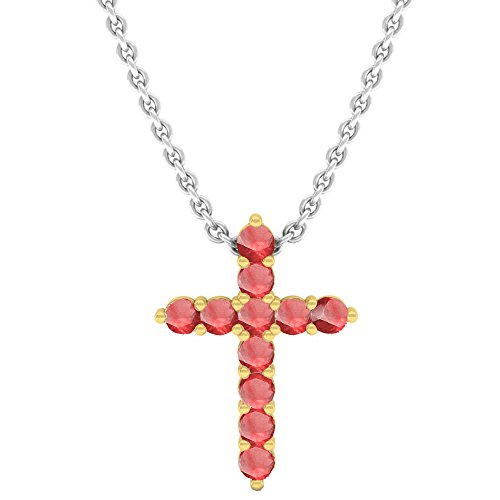 10K Yellow Gold Round Ruby Ladies Cross Pendant (Silver Chain Included)