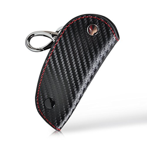 beler 3D Leather Carbon Fiber Remote Key Fob Case chain keyless Holder Cover (Fulfilled by Amazon)