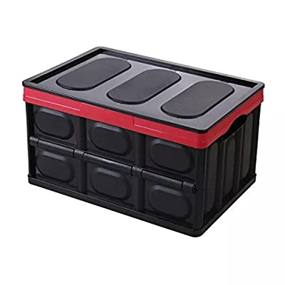 """Beeiee Collapsible Car Trunk Organizer 20.4"""" x 13"""" x 10"""" XL Size Storage Box, Perfect for SUV, Auto, Vehicle, Family Vans, Travel and Camp (Black): Kitchen & Dining"""