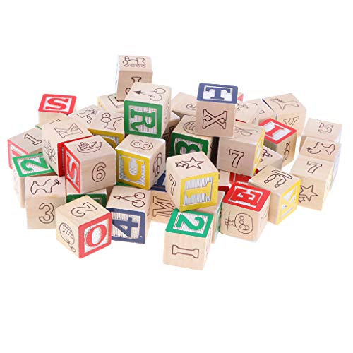 CUTICATE 50 Pieces Wooden ABC/123 Blocks Set, Developmental Toys, Number Blocks Stacking Cubes