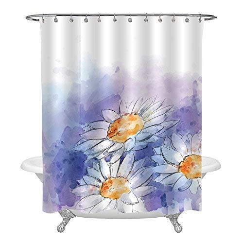 MitoVilla Spring Flower Bathroom Decor, Blooming Daisy Shower Curtain for Women and Girl Home Ornaments, Waterproof Fabric Bathroom Accessories, Standard 72 x 78 inches