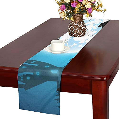 (WHIOFE Blue Festival Halloween Conceptfull Moon Table Runner, Kitchen Dining Table Runner 16 X 72 Inch for Dinner Parties, Events,)
