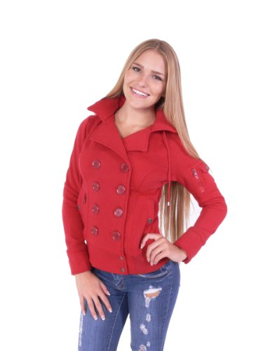 Fleece Double Breast Bomber Coat with Hoodie Jacket Four Buttons Style (M, Burgundy)