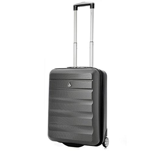 Aerolite Ryanair MAX 55x40x20cm 2-Rollen Hartschale Leichtgewicht Bordgepäck Handgepäck Kabinentrolley Reisekoffer Trolley Gepäck (Kohlengrau)