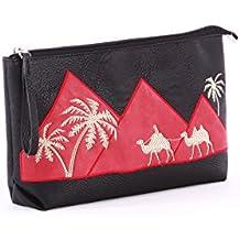 Alba Soboni PU Leather Modern Portable Printed Handle Cosmetic and Сosmetic Makeup Bag (105) black