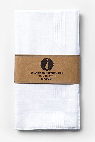 White Cotton Handkerchief | 12 Pack Hankies Handkerchief