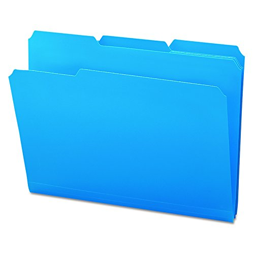 Smead Poly File Folder, 1/3-Cut- Tab Letter Size, Blue, 24 per Box (10503)
