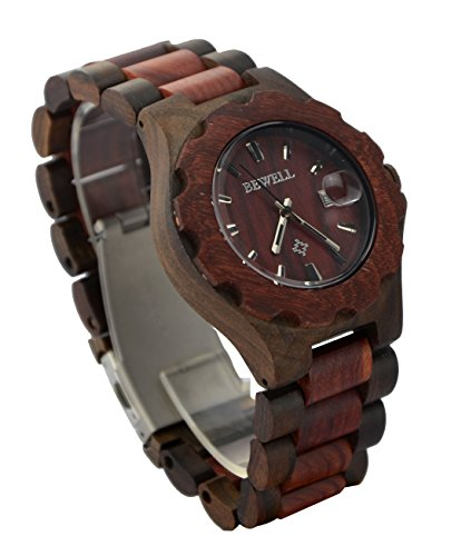 Ideashop Women's Black and Red Wooden WristWatches With Date Calendar Adjustable Quartz Wood Watches for Lovers...