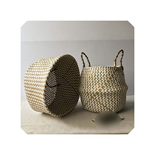 Bamboo Storage Baskets Foldable Laundry Straw Patchwork Wicker Rattan Seagrass Belly Garden Flower Pot Planter Handmade Basket,1,31x27x24cm (Baskets Cheap Rattan Singapore)