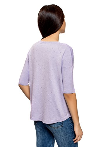 Manche Femme au oodji Ample Coupe Pull Ultra Coude 8000m Violet wFxnAq4vW