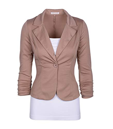 (Auliné Collection Women's Casual Work Solid Color Knit Blazer Khaki)